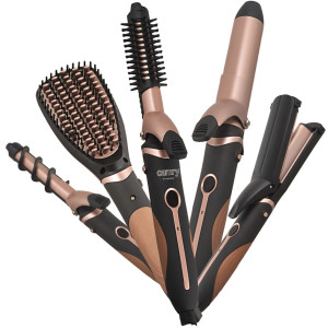 Camry Hairstyling Set 5in1 Richtbürste ZIG-ZAG Wellenplatten 19 mm und 32 mm  Lockenwickler